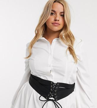 Asos DESIGN Curve multi strap elastic corset waist belt in black