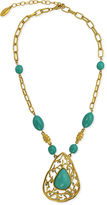 T Tahari Necklace, 14k Gold-Plated Turquoise Resin Bead Statement Necklace