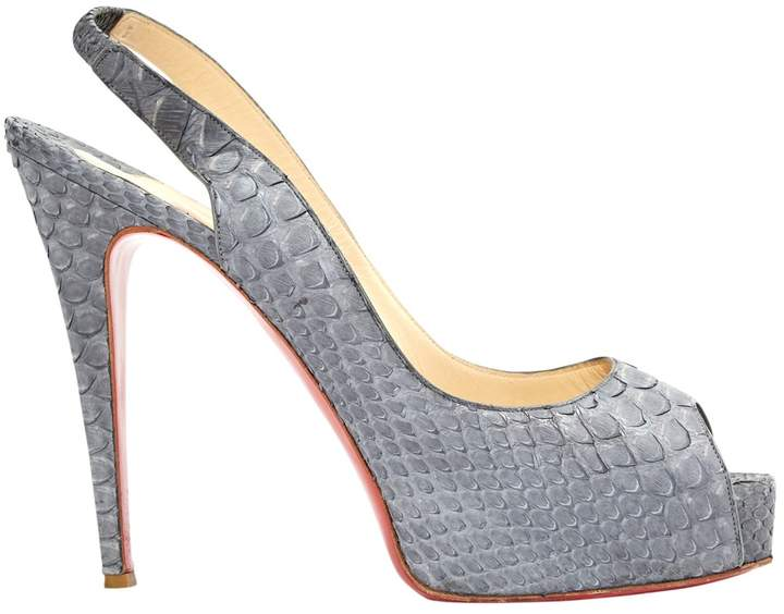 Christian Louboutin Private Number Grey Python Heels