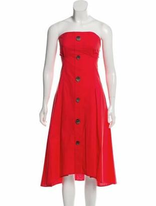 Ji Oh Asymmetrical Strapless Dress Orange