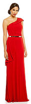 David Meister One Shoulder Belted Ruffle Gown