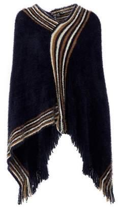 Dorothy Perkins Womens *Izabel London Navy Blue Striped Asymmetric Poncho, Blue