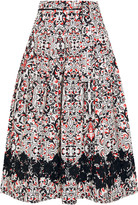 Tomas Maier Sevilla lace-trimmed printed cotton-poplin skirt