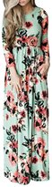 YMING Women's Fashion Spring Short Sleeve Classic Rose Maxi Dresses BLUE S