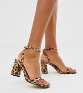Barely There Asos Design ASOS DESIGN Hong Kong block heeled sandals in leopard