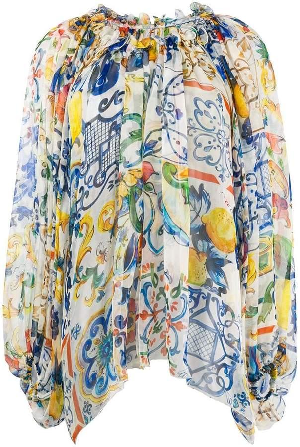 Dolce & Gabbana ruffled neck blouse