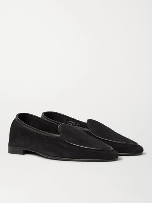 George Cleverley Hampton Leather-Trimmed Suede Loafers - Men - Black