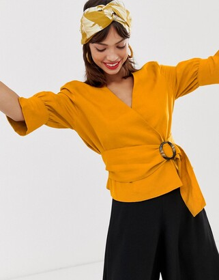 And other stories & belted linen blend blouse in mustard-Multi