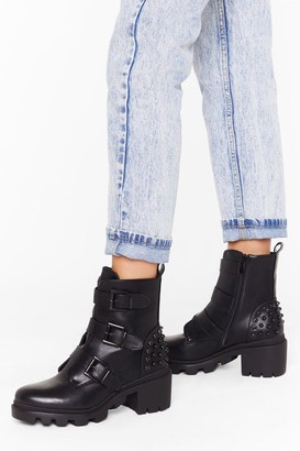 Nasty Gal Womens It's a Strap Faux Leather Embellished Boots - Black - 3