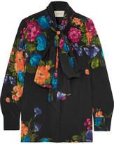 Gucci Pussy-bow Floral-print Silk Crepe De Chine Blouse