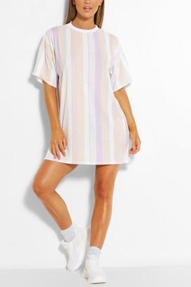 boohoo Pastel Stripe Oversized Tshirt Dress