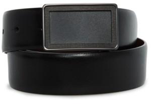 Perry Ellis Men's Reversible Clear Plaque Belt