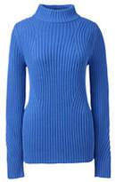 Lands' End Women's Petite Lofty Placed Rib Mock Neck Sweater-Sea Cliff Blue