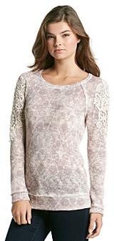 Eyeshadow Juniors' Crochet Shoulder Sweater