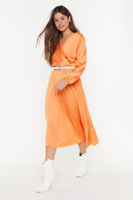 Nasty Gal Womens We Aim to Pleat Satin Midi Dress - Coral