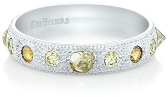 De Beers White Gold Talisman Half Pave Ring