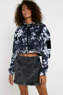Urban Outfitters Cal Acid Wash Denim Mini Skirt - black XS at