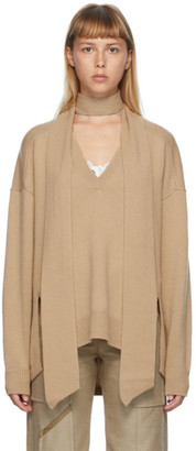 Chloé Beige Cashmere Scarf Sweater
