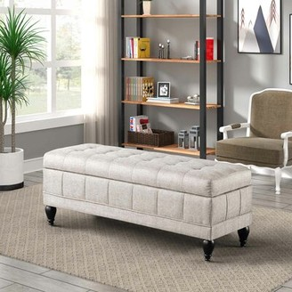 Canora Grey Witham Upholstered Filp Flop Storage Bench Color: White