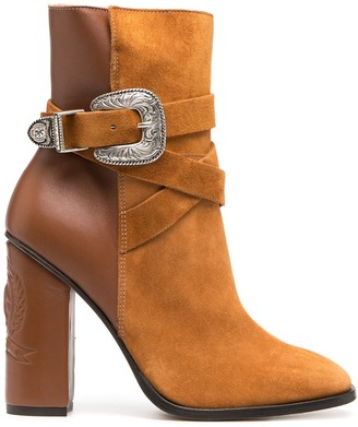 Tommy Hilfiger Two-Tone Buckle Ankle Booties
