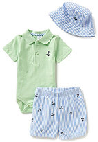 Starting Out Baby Boys Newborn-9 Months Nautical Anchor Polo Bodysuit, Striped Shorts, & Hat Set