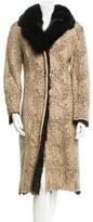 Adrienne Landau Fur-Trimmed Suede Coat