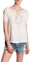 Blu Pepper Short Sleeve Embroidered Woven Blouse