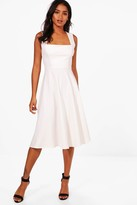 boohoo Eva Square Neck Midi Skater Dress