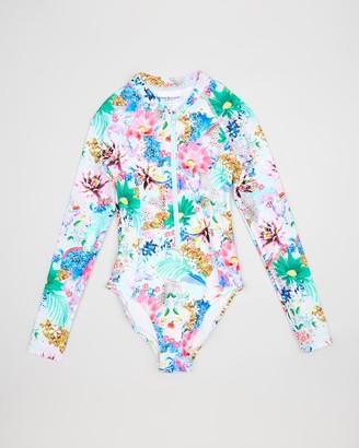 Bluesalt Beachwear - Girl's Multi Rash Suits - Glamour Animal Long Sleeve Surf Tank One Piece - Size One Size, 8 at The Iconic