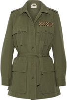 Figue Safari Embellished Cotton And Linen-blend Twill Jacket - Army green