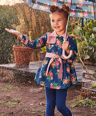 Matilda Jane Clothing Girls' Rain Coats - Blue & Pink Floral Down Came the Raincoat - Toddler & Girls