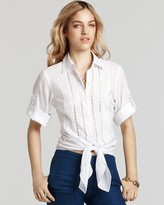 Catherine Malandrino Cropped Poplin Blouse with Waist Tie