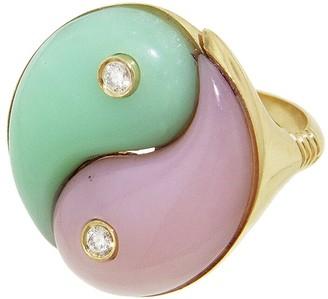 Yin & Yang Opal and Chrysoprase Yin Yang Ring - Yellow Gold