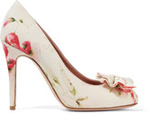 RED Valentino Bow-Embellished Floral-Print Canvas Pumps
