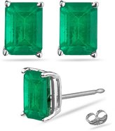 Vogati 0.90-1.35 Ct of 6x4 mm AA Emerald Cut Natural Emerald Stud Earrings in Platinum