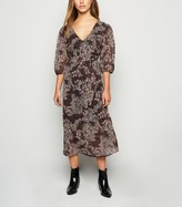 New Look Petite Floral Chiffon Tie Waist Midi Dress