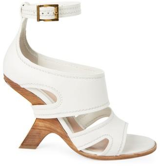 Alexander McQueen Curved-Heel Leather Sandals