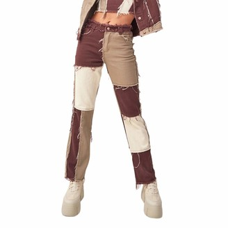 Opperiaya Women's High Waisted Patchwork Straight Jeans Fashion Y2K Style Block Color Distressed Pencil Denim Pants - Brown - S