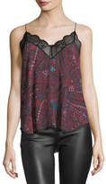 Zadig & Voltaire Christy Printed Silk Camisole Tank w/ Lace