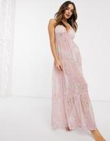 Asos DESIGN button front tiered maxi beach dress in floral metallic stripe print