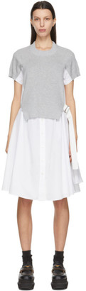 Sacai Grey and White Knit Panel Dress