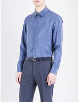 Armani Collezioni Check-print Regular-fit Silk Shirt