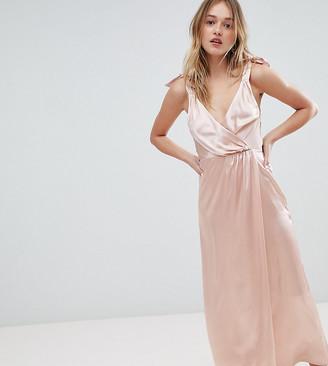 Monki Satin Tie Strap Wrap Maxi Dress