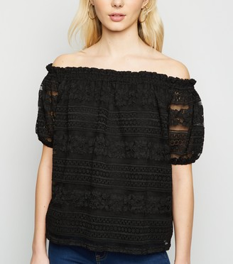 New Look Lace Puff Sleeve Bardot Top