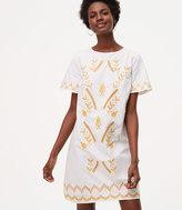 LOFT Petite Gilded Garden Shift Dress