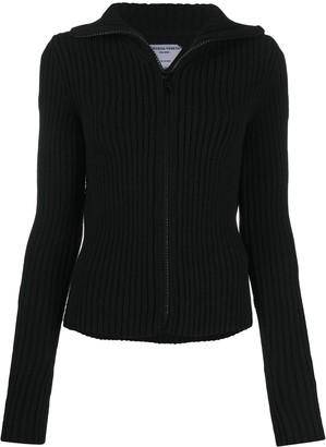 Bottega Veneta Ribbed-Knit Zip-Front Cardigan