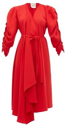 A.W.A.K.E. Mode Gathered-sleeve Wrap Dress - Red