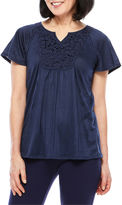 Sag Harbor Short Sleeve Split Crew Neck T-Shirt-Womens