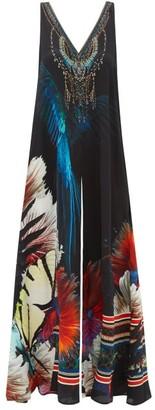 Camilla Floral-print Crystal-embellished Silk Jumpsuit - Black Print