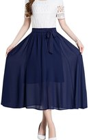 Tanming Women's Elastic Waist Belted A-Line Pleated Chiffon Long Skirt